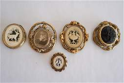 Collection Victorian Carved Mourning Brooches