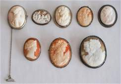 8 Antique Victorian Sterling Shell Cameo Brooches