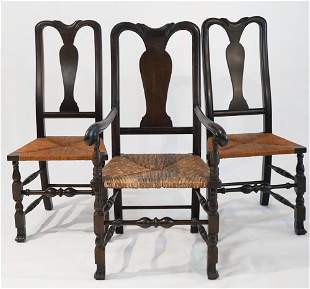 Set Wallace Nutting Carved Queen Anne Style Chairs