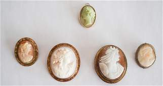 Collection Victorian Carved Shell Cameo Brooches