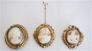 3 Victorian Carved Shell Cameo Mourning Brooches