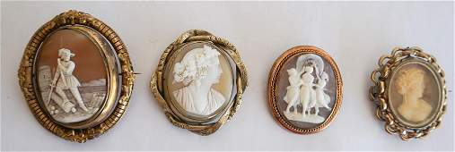 4 Victorian Carved Shell Mourning Cameo Brooches