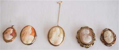 Five Antique Victorian Carved Shell Cameo Brooches