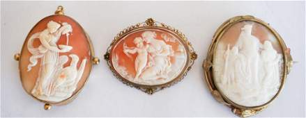 3 Antique Victorian Carved Shell Cameo Brooches