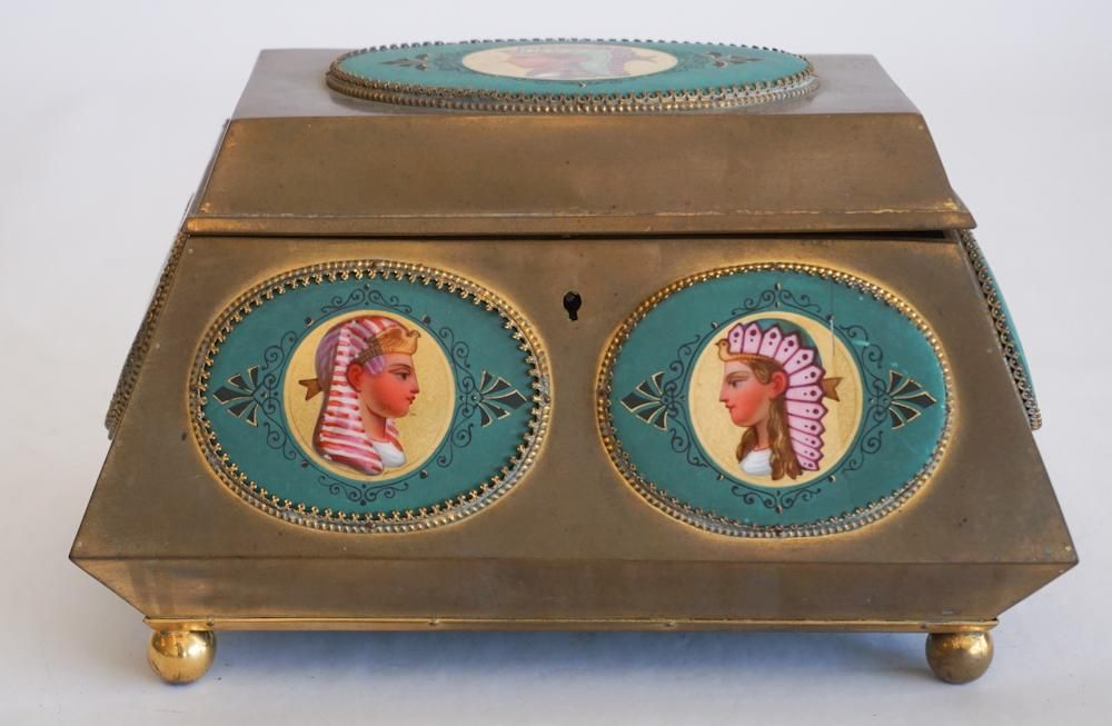 Antique French Brass & Porcelain Valuables Box