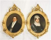 Exceptional Pair Portraits School of Rembrandt Peale