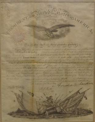 Signed Andrew Jackson Military Promotion Document