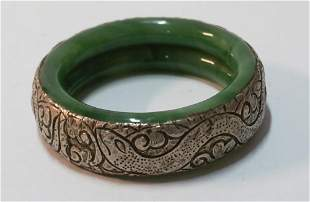 Antique Chinese Jade & Silver Bracelet