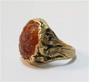 Vintage Chinese 10k Gold & Carved Carnelian Ring