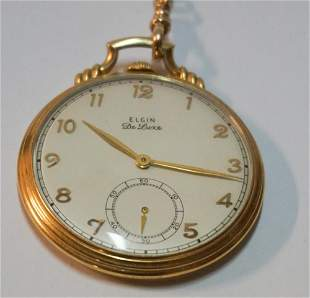 Vintage Elgin De Lux Model Cased Pocket Watch