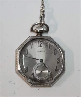 14k White Gold Waltham Pocket Watch & Chain