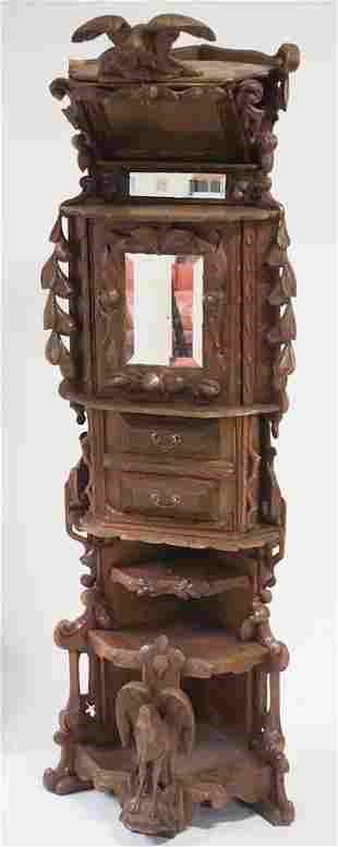 American Black Walnut Folk Art Corner Cabinet
