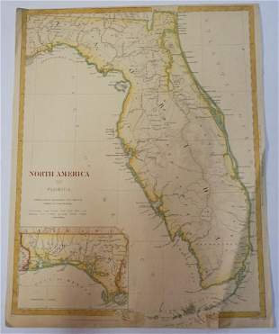 1834 Baldwin & Crodock Hand Colored Map of Florida