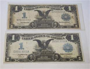 Two Antique US 1 Dollar Silver Certificates