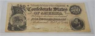 Confederate $500 Bill Obsolete Note