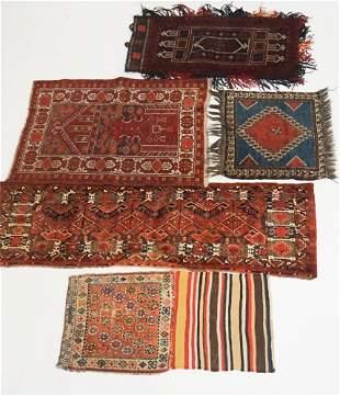 Five Antique Persian Saddle Bag & Prayer Carpets