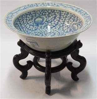 Antique Chinese Canton Blue & White Center Bowl