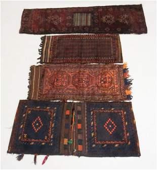 Collection Four Antique Persian Saddle Carpets
