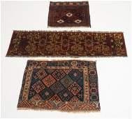 Three Antique Persian Saddle or Prayer Carpets