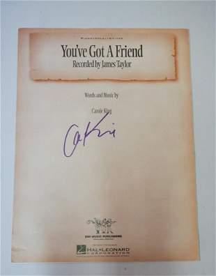 Vintage Carole King Autograph on Sheet Music