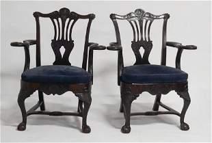 Pair Irish Chippendale Style Mahogany Armchairs