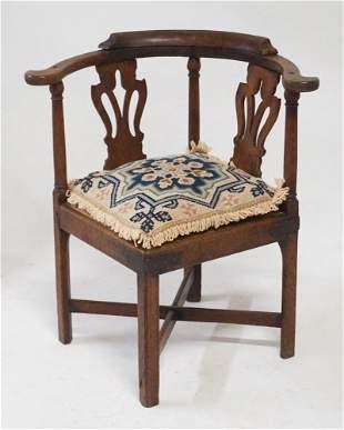 British Chippendale Oak Corner Chair