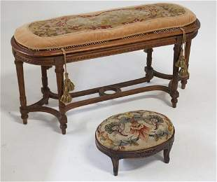 Two French Carved Rococo Revival Stools