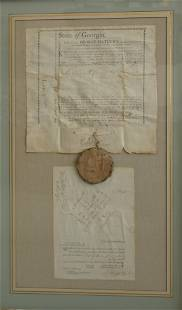 1794 Georgia Land Grant Survey & Wax Seal Framed