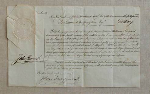 John Hancock Signed MA Military Appointment