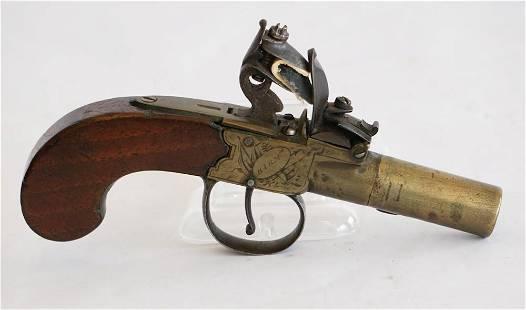 Fine Antique English Flintlock Pocket Pistol