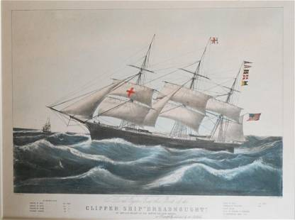 N. Currier Hand Tinted Lithograph of Clipper Ship