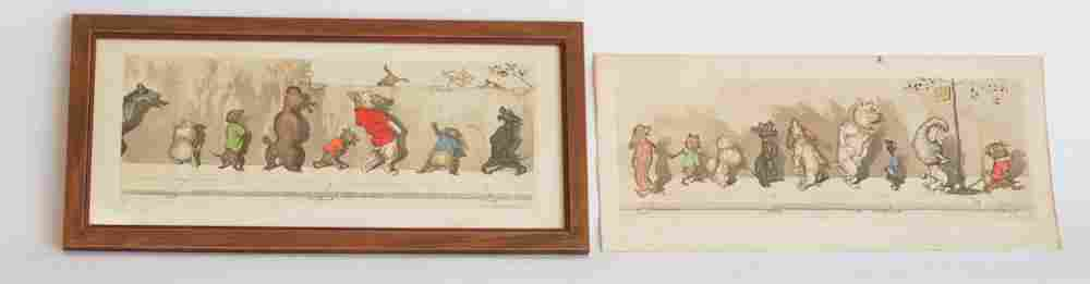 Two Signed & Hand Tinted Engravings, Boris O'Klein