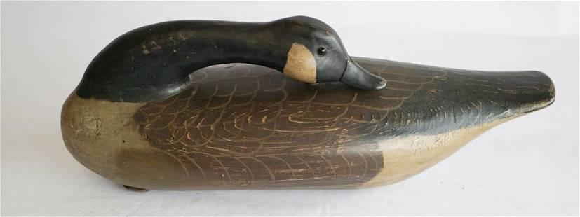 Vintage Folk Art Sleeping Goose Decoy