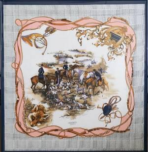 Vintage Hermes Equine Scarf Framed