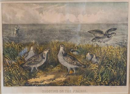 Original Currier and Ives Hand Tinted Print