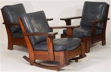 Arts and Crafts Period Oak Chair Suite