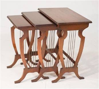 Edwardian Mahogany & Brass Nesting Tables