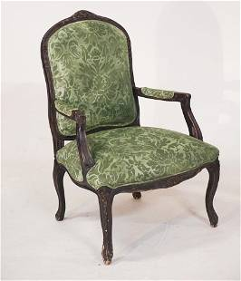 French Carved & Upholstered Open Arm Easy Chair