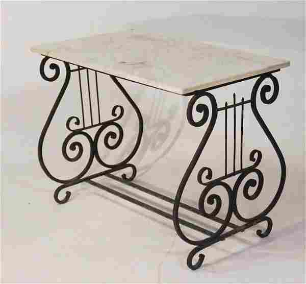 Handsome Wrought Iron & Marble Top Garden Table