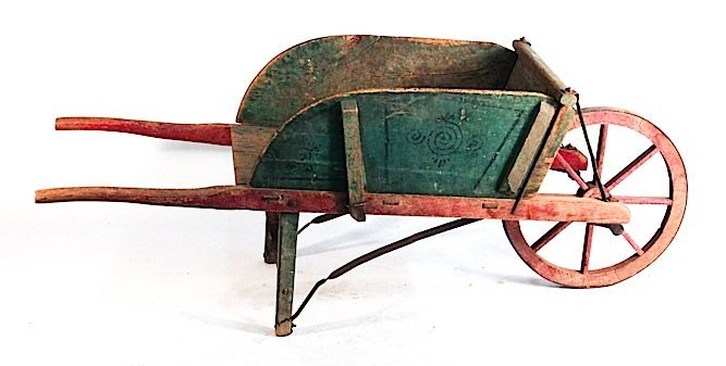 American paint-decorated wheel barrow