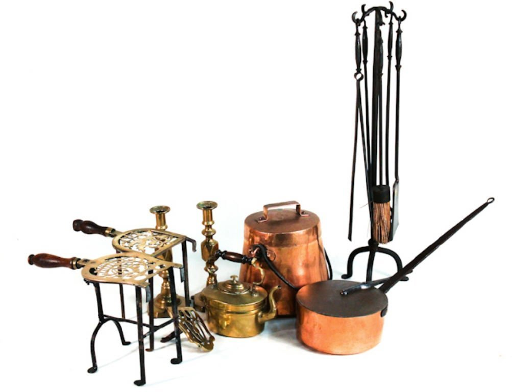 Copper, brass and iron kitchen implements