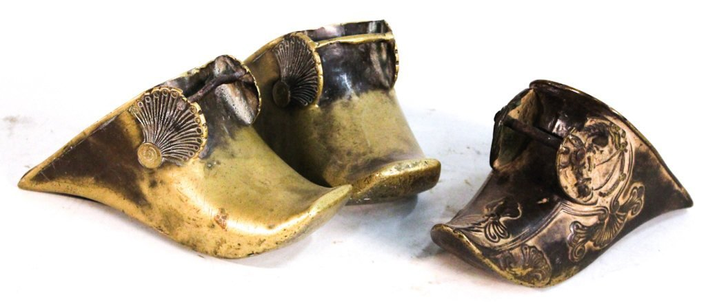 Group of three Continental bronze stirrups