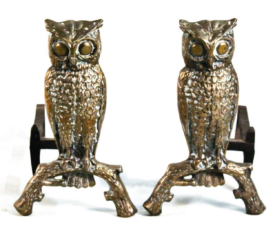 Pair of American brass owl andirons