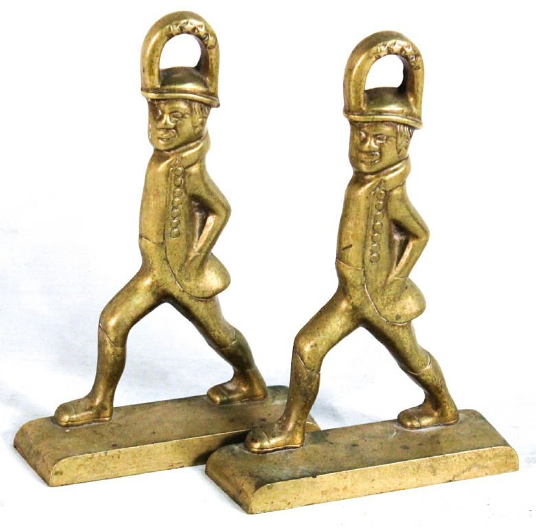 Pair brass doorstops for Colonial Williamsburg