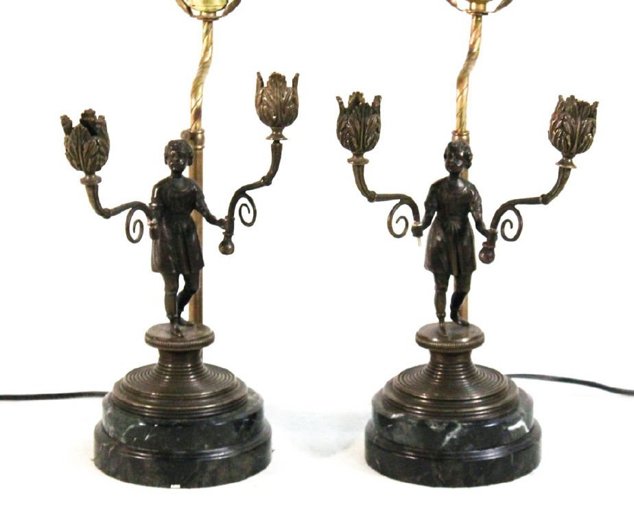 Pair Continental bronze lamps