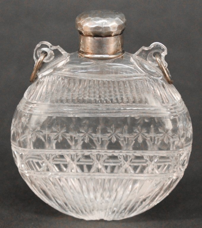 Tiffany & Co handhammered Sterling & crystal flask