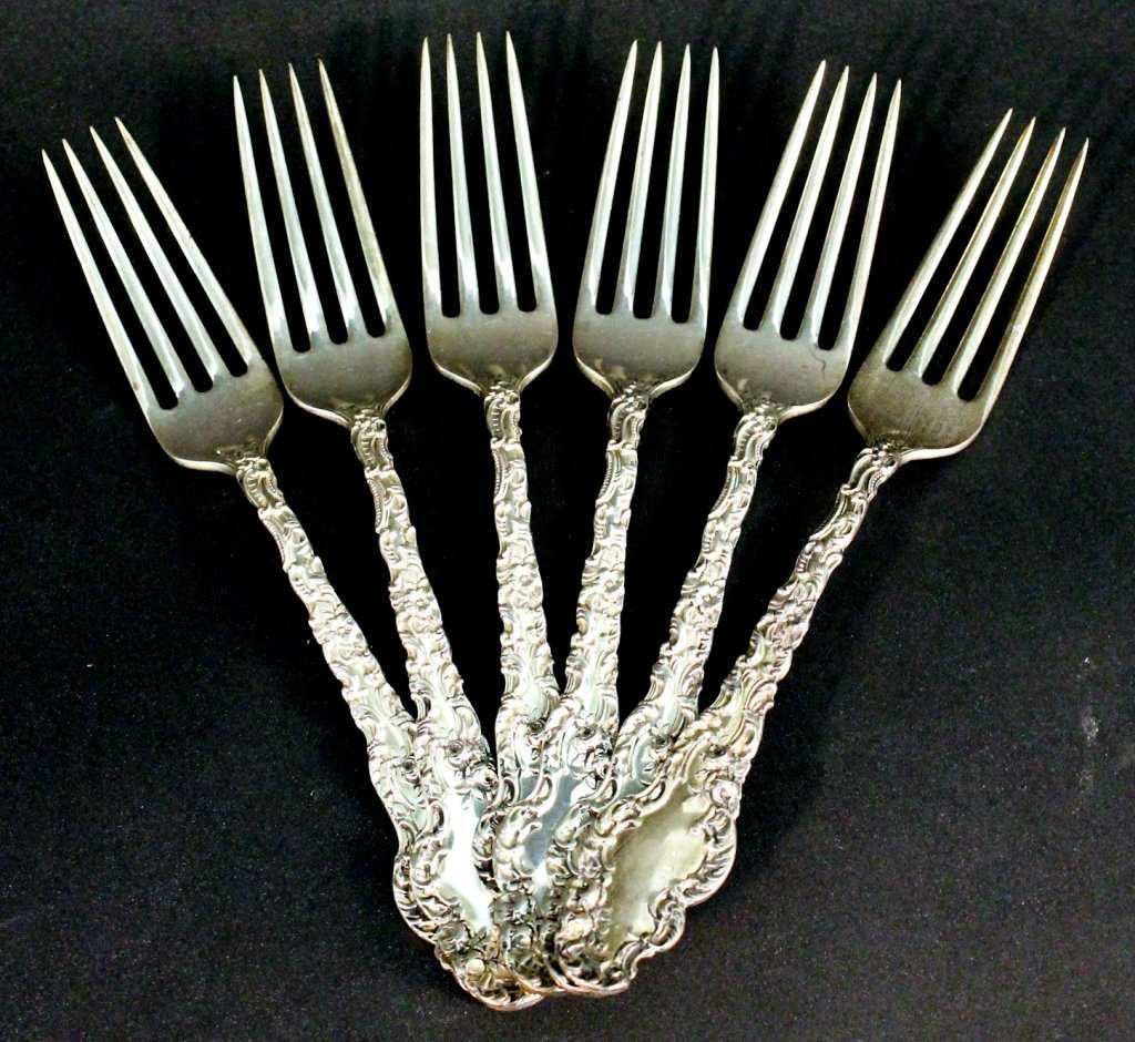 Set of six  American Sterling forks, During