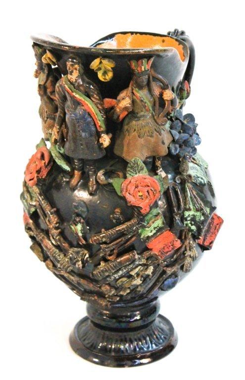 Southwest manganese-glazed stoneware pitcher