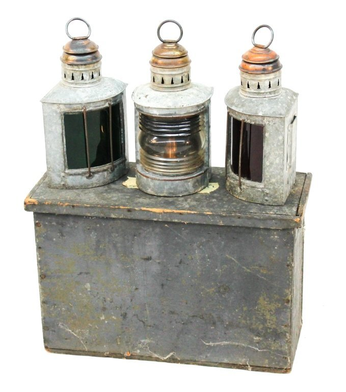 Vintage railroad lanterns in box