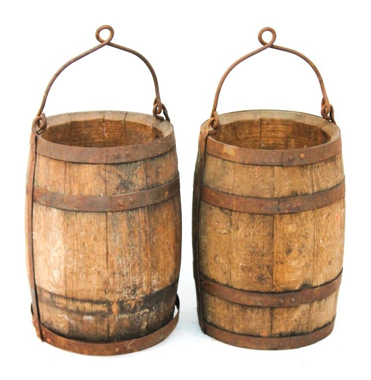 Pair wooden tar buckets
